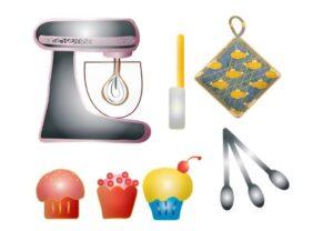 Dessin d'un robot pâtissier avec des accessoires